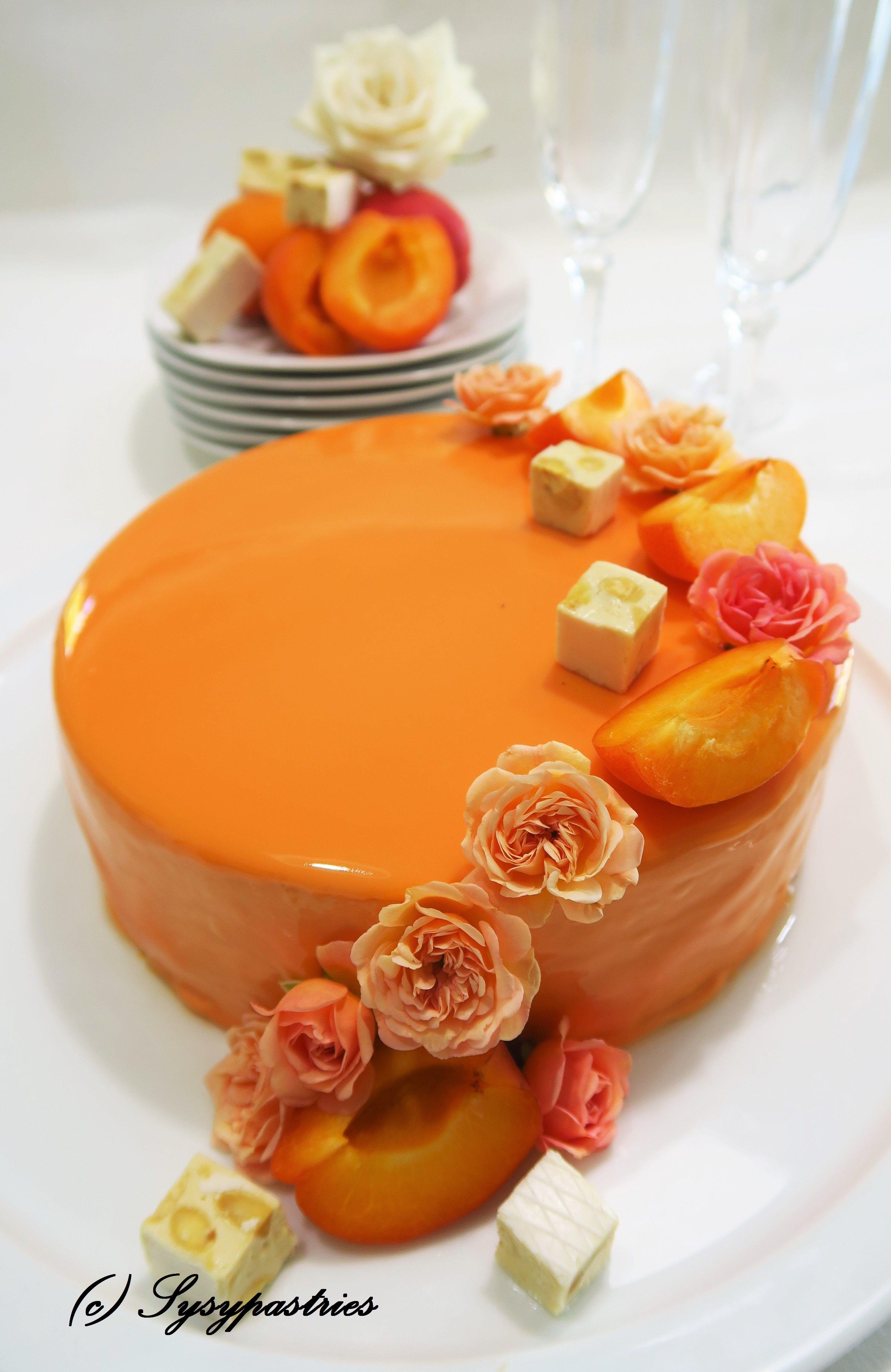 L'Abricot ... Biscuit madeleine et abricots, Crémeux nougat, gélifié d'abricots, mousse abricot, glaçage miroir orange... #biscuitmadeleine L'Abricot ... Biscuit madeleine et abricots, Crémeux nougat, gélifié d'abricots, mousse abricot, glaçage miroir orange... #biscuitmadeleine