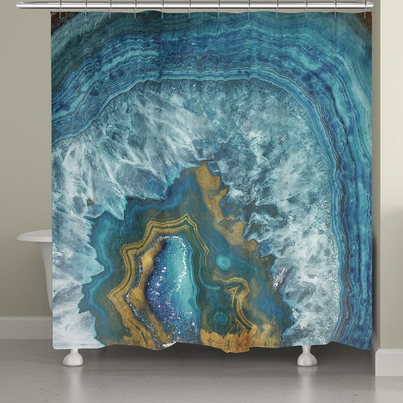 Laural Home Blue Gold Mineral Shower Curtain Curtains Decor