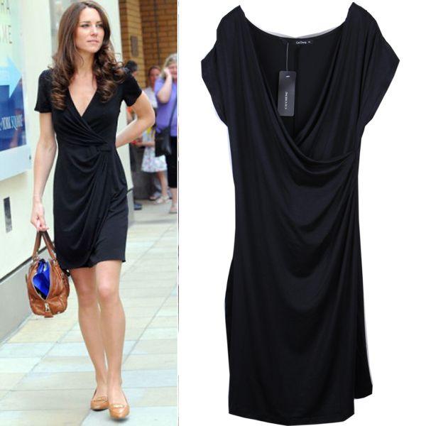 mulheres manga curta Kate Middleton vestido de princesa mesmo estilo curto  mini-sexo verão atacado Casual Vestidos tamanho preto SML US  14.43 8fcc3e947fc36
