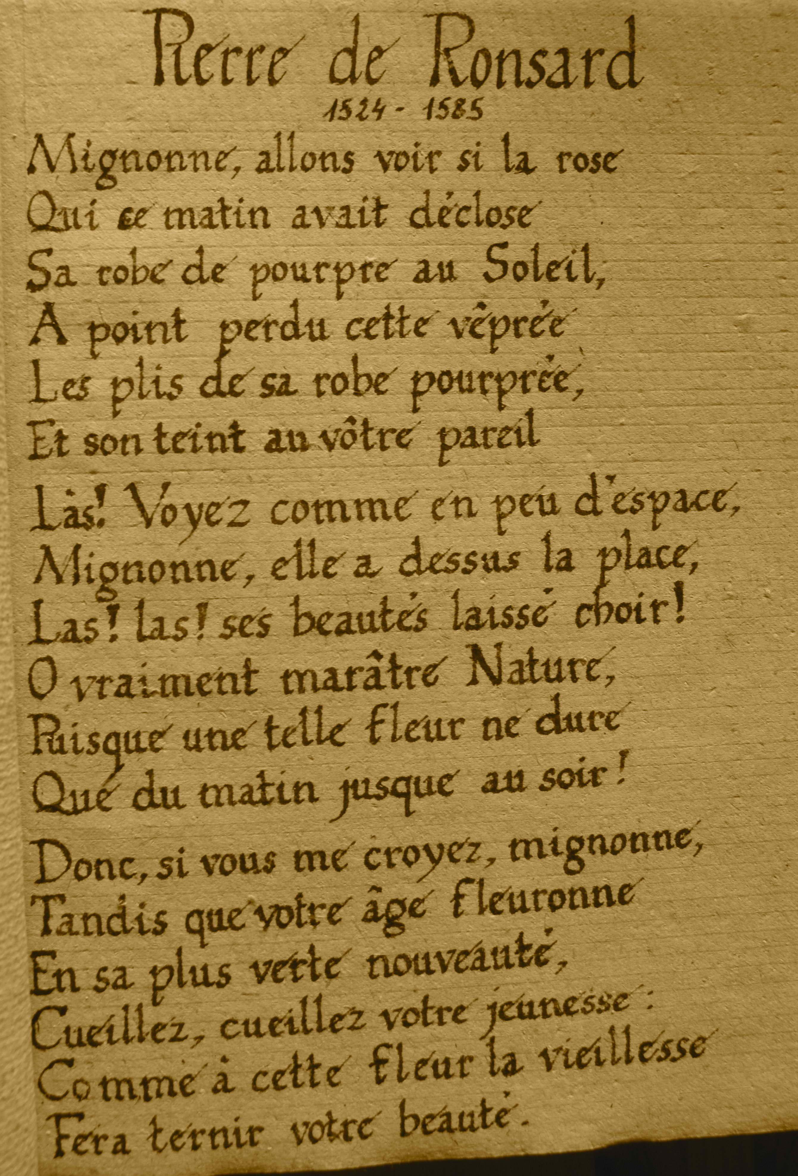 Pierre De Ronsard à Cassandre Odes 1545 Poeme Et