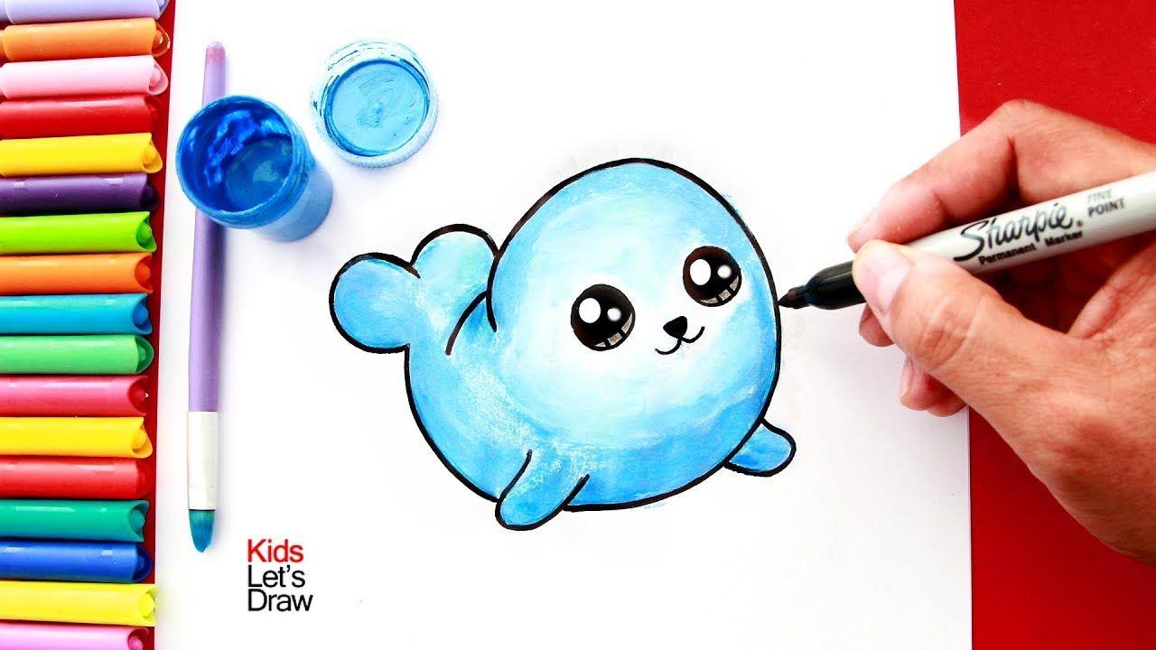 Como Dibujar Y Pintar Una Foca Kawaii How To Draw A Cute Seal Easy Como Dibujar Un Gato Como Dibujar Animales Faciles De Dibujar
