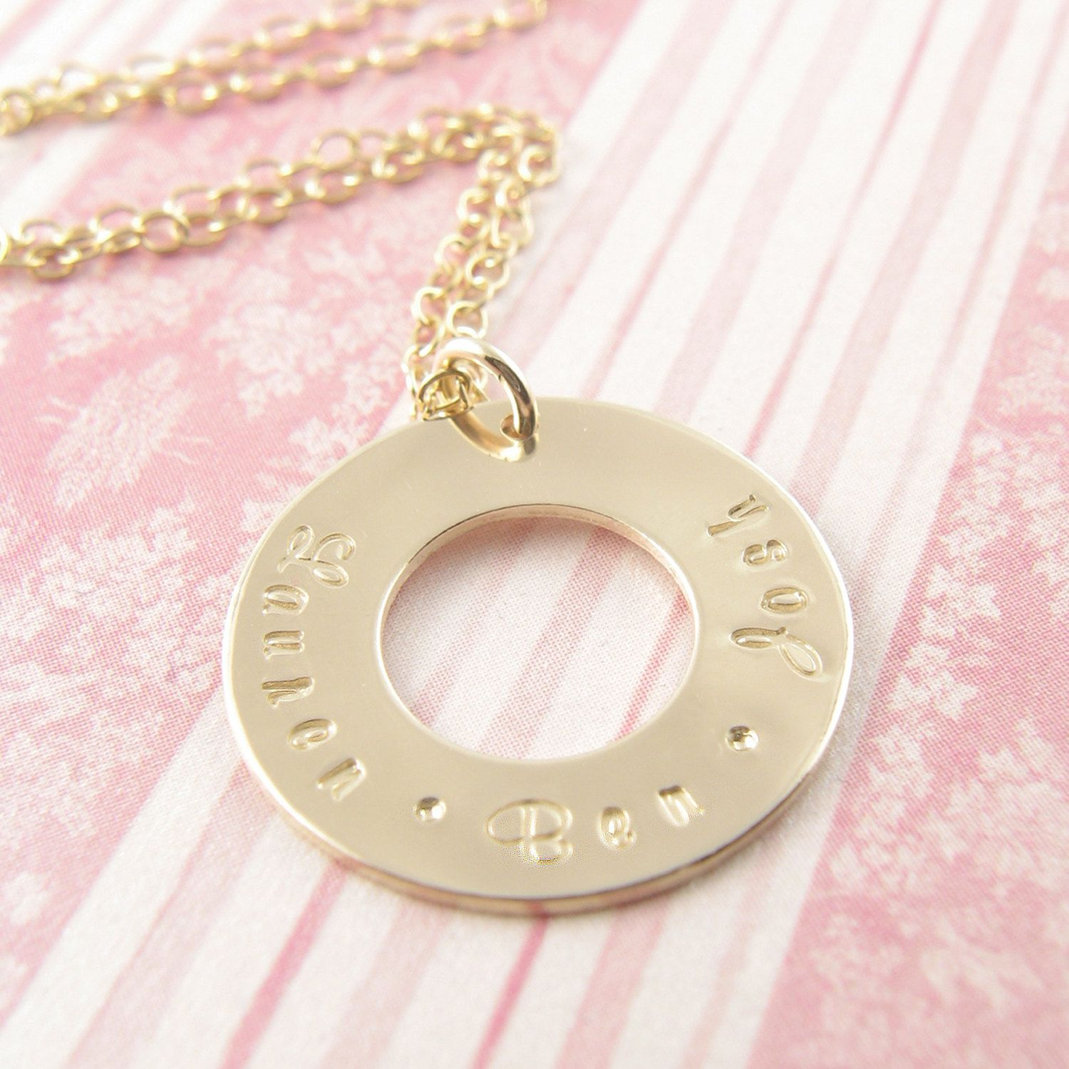 Etsy Transaction - Gold Washer Personalized Necklace - 14k Gold Filled - Personalized Mother's Necklace - Mother's Day
