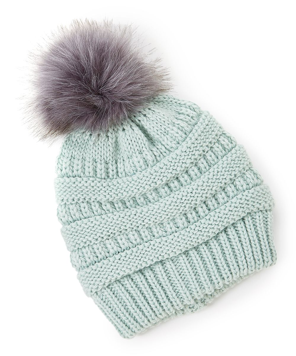 deaa0986d David & Young Mint Faux Fur-Lining Pom-Pom Beanie | zulily | girly ...