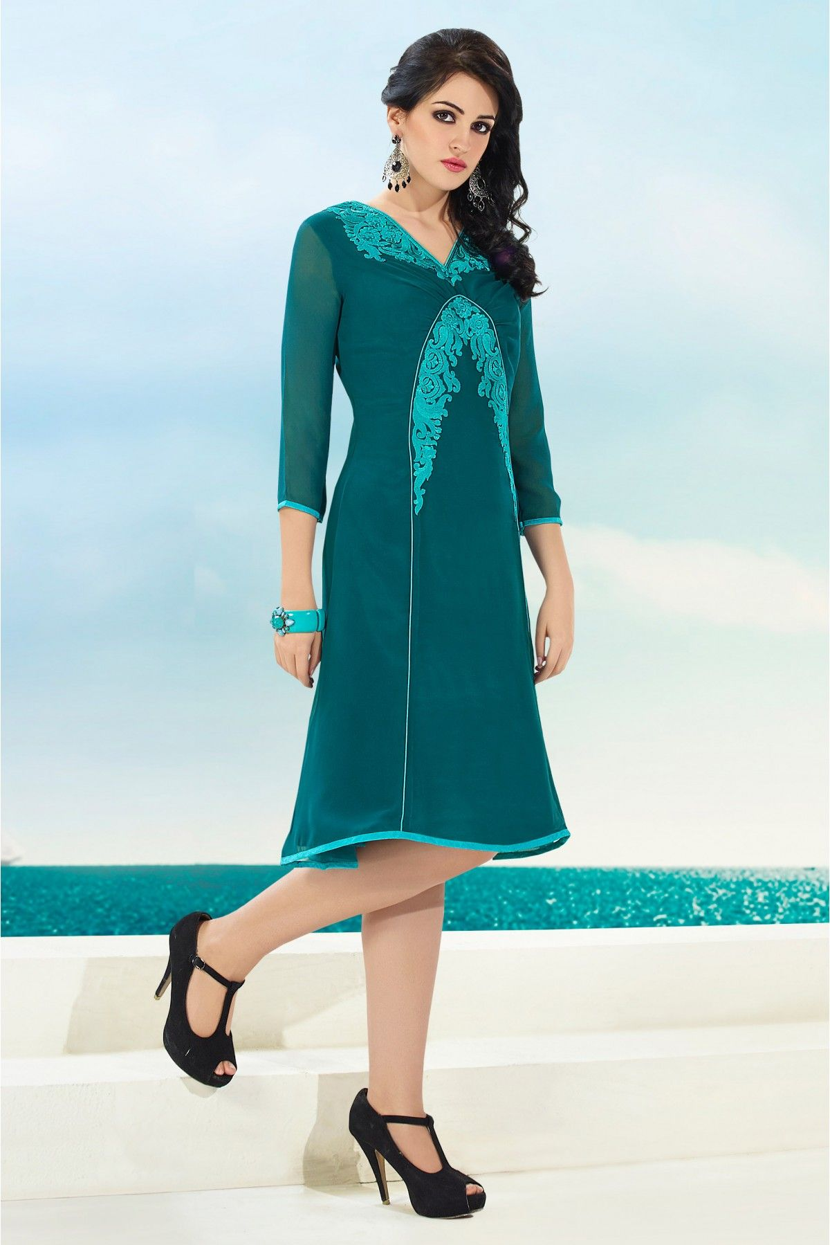 2933e6c167 Georgette Party Wear Kurti in Sea Green Colour.It is crafted with Embroidery  Design.