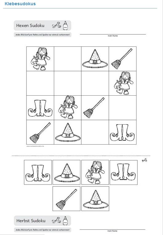http://intern.zaubereinmaleins.de/129/unterrichtsmaterial-klasse-1-4/knobelspa.html?tmsp=1467191258: Mathe, logisches Denken, Logik, Sudoku, Sudokus zum ausschneiden schneiden kleben aufkleben, ausmalen, Vorschule, Klasse 1, Thema Hexe Halloween, Affen usw.