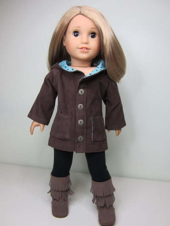 American girl doll clothes- Chocolate brown cord oxford coat | Doll ...
