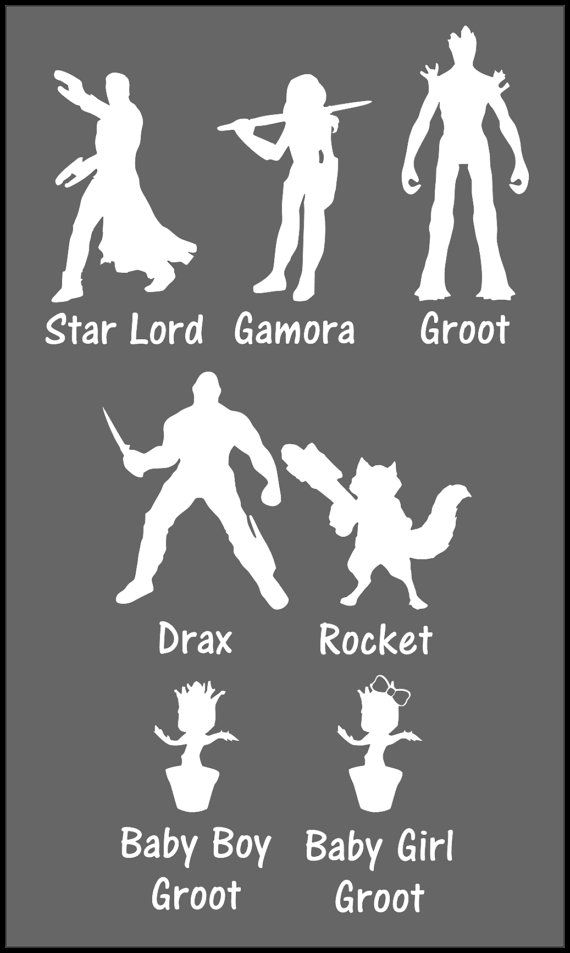 Guardians Of The Galaxy Family Car Sticker Set By EpicFamilyDecals - Family car sticker decalsbest silhouette for the car images on pinterest family car