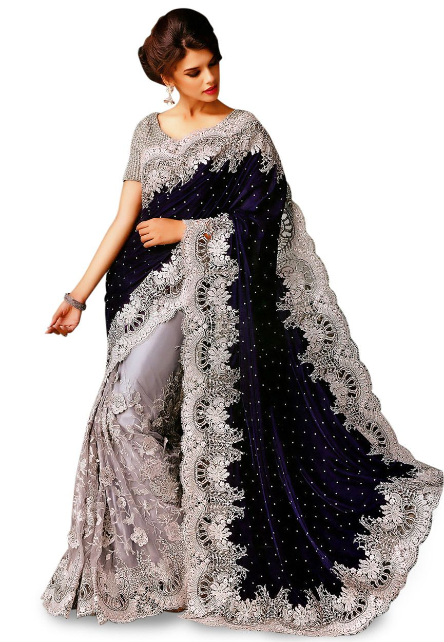 bdca7a68d4812c Buy Dark Blue and Grey Velvet and Net Saree with Blouse online, work:  Embroidered, color: Dark Blue / Grey, usage: Wedding, category: Sarees,  fabric: Velvet ...