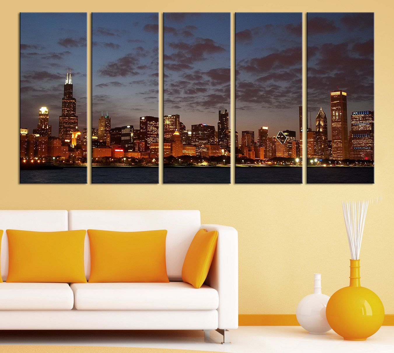 Large Wall Art Canvas Print Chicago City Skyline at Night - 5 Panel ...