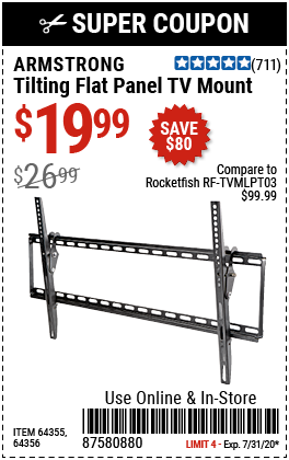 Armstrong Large Tilt Flat Panel Tv Mount For 19 99 In 2020 Flat Panel Tv Harbor Freight Tools Mounted Tv