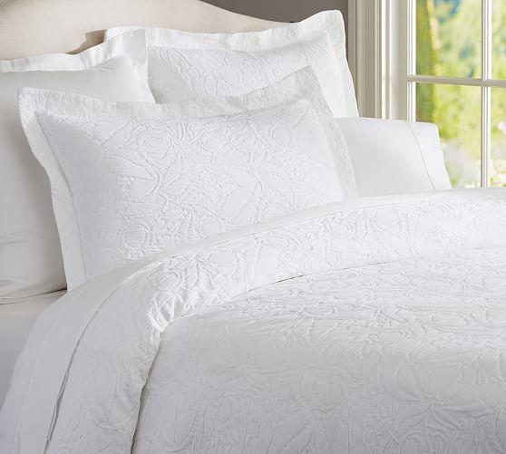 Valerie Floral Matelasse Duvet Cover Sham White Quilt Bedding