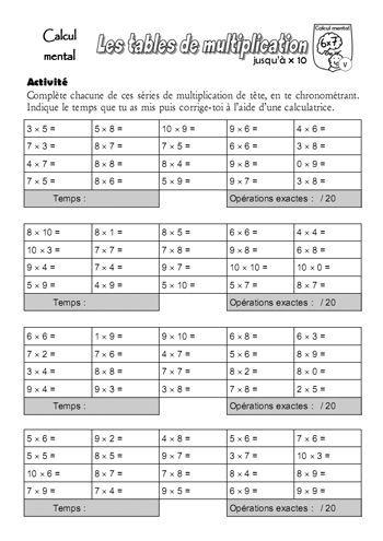 Fiche d 39 entra nement la m morisation des tables de - Reviser les tables de multiplications ...