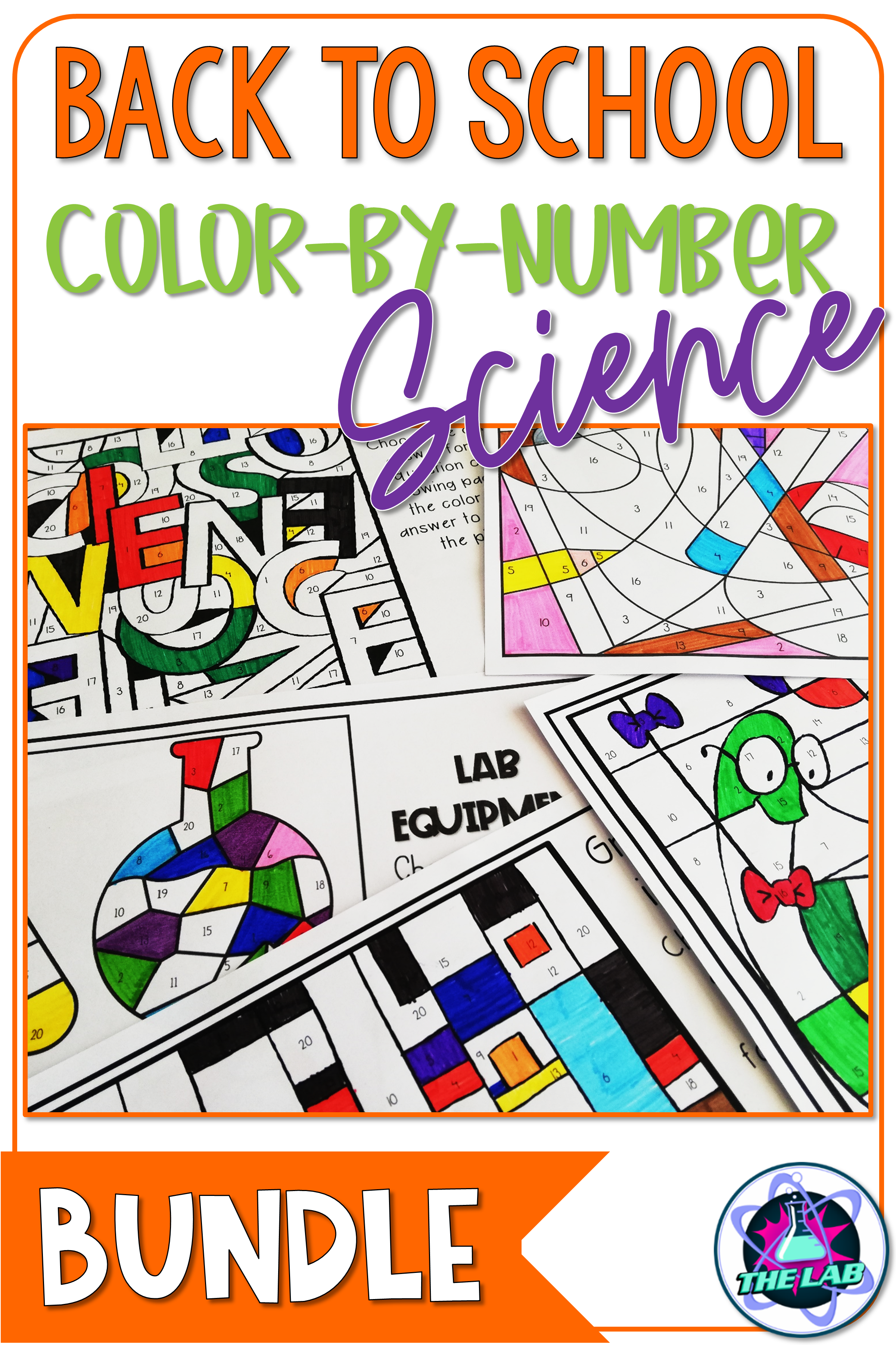 Back To School Science Color By Number Activity Bundle