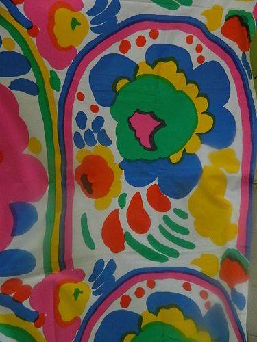 "Vtg Collectible Marimekko Fabric Panel 1973 Katsuji Wakisaka""Karuselli"""