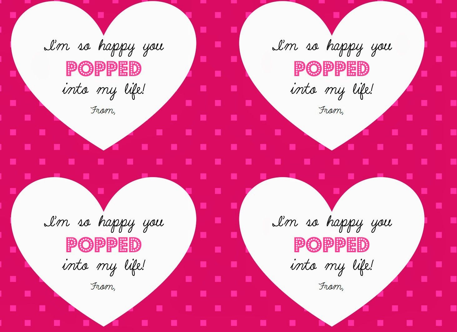 popcorn valentines for students - Valentines For Students