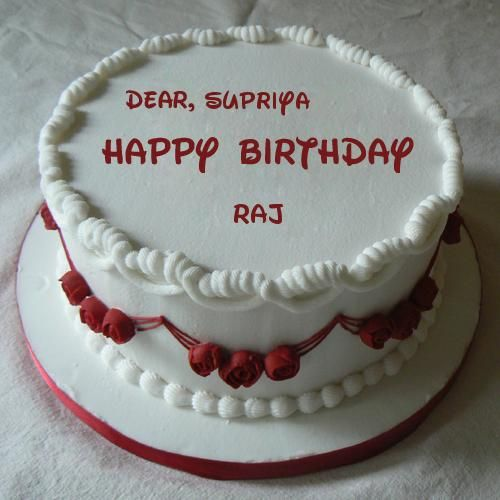 Happy Birthday Wishes Red Rose Cake With Your Name Supriya