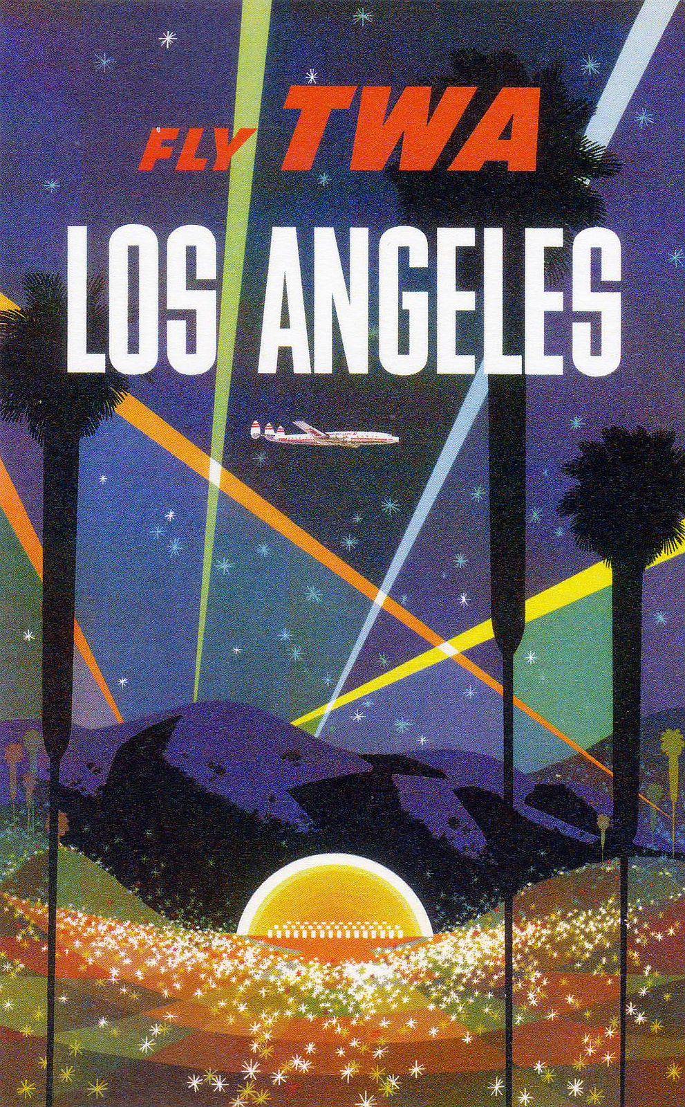 Fly TWA Los Angeles Hollywood Bowl Vintage Poster By David Klein - Los angeles posters vintage