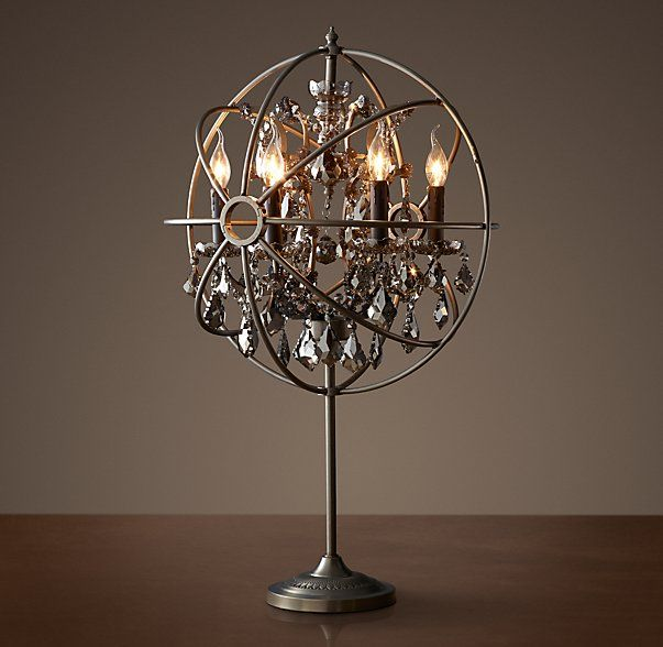 Foucault S Orb Smoke Crystal Table Lamp Matte Natural Iron Crystal Table Lamps Table Candle Lamps Lamp
