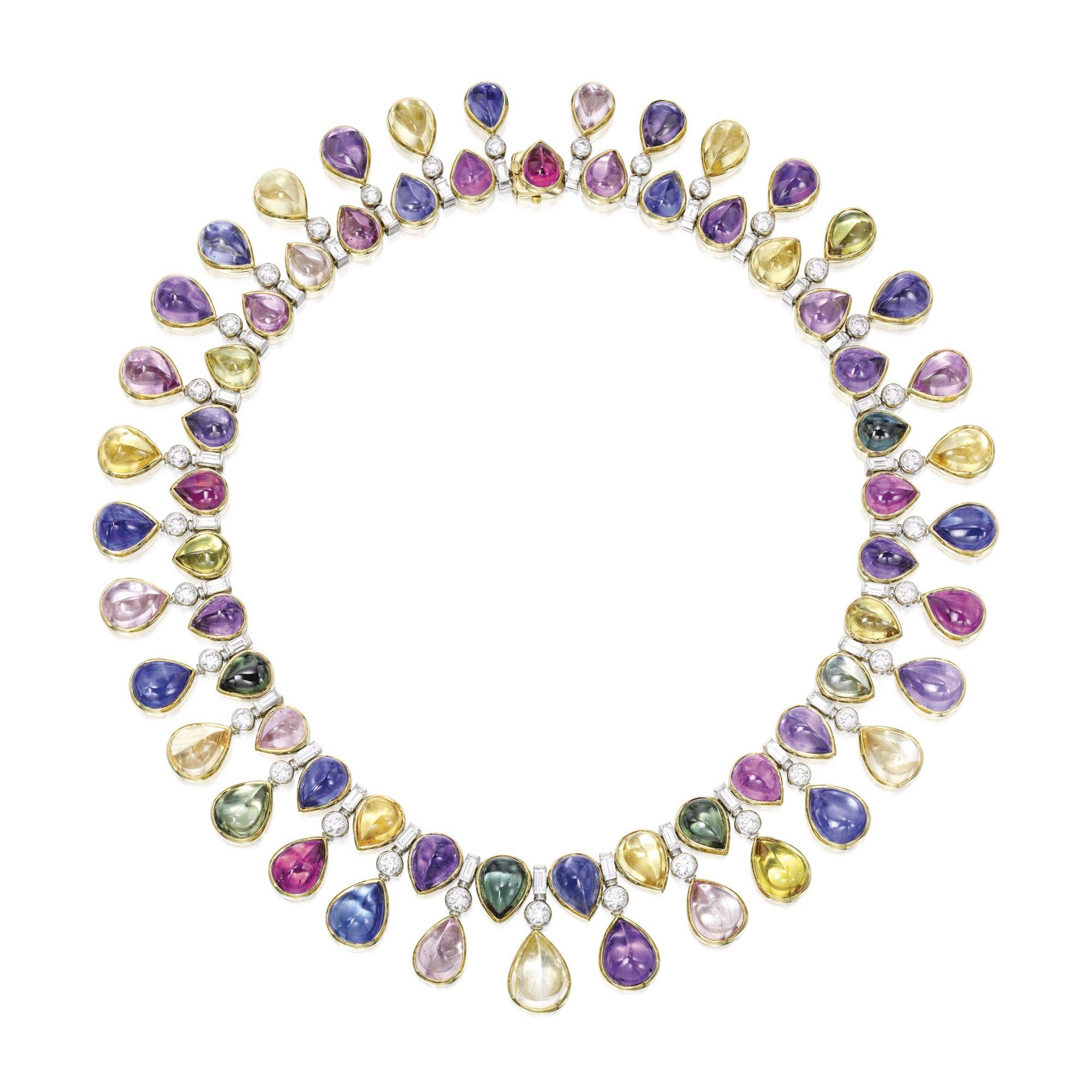 18 Karat Gold Platinum Multi Colored Sapphire and Diamond