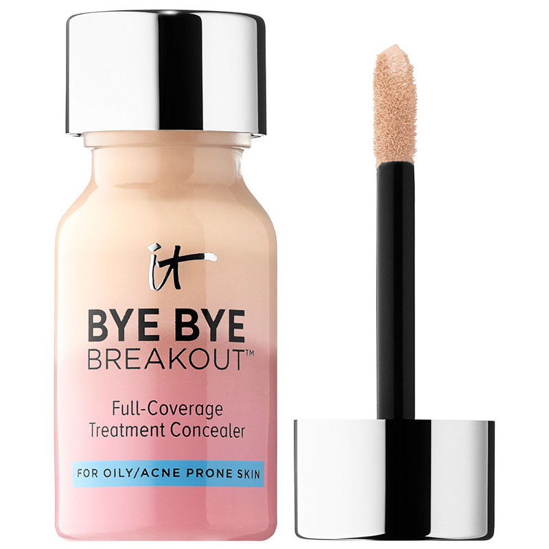 Beauty Blender Or Brush For Full Coverage: IT Cosmetics Bye Bye Breakout™ Full-Coverage Concealer In