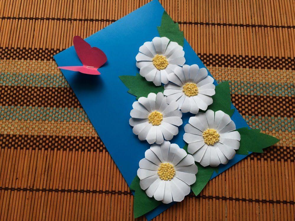 Поделки из бумаги своими руками открытка с цветами