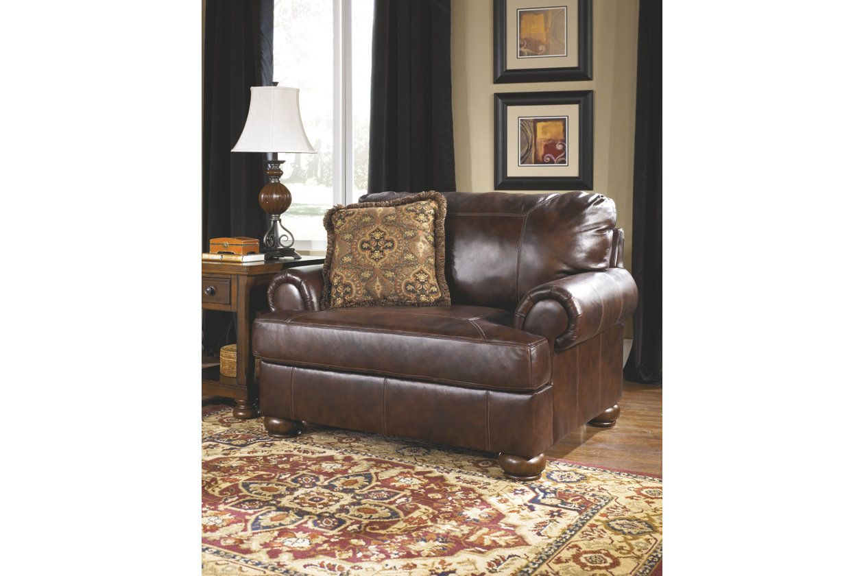 Axiom oversized chair walnut leather chair and a half