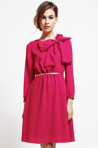 vestido corto de fiesta rosa fucsia con lazo en hombro para bautizo, coctel y evento #invitadasboda #vestidoscortos #vestidosfiesta #nochevieja http://www.apparentia.com/mujer/vestidos/cortos/ficha/1668/vestido-rosa-lazo-hombro-ariadne/