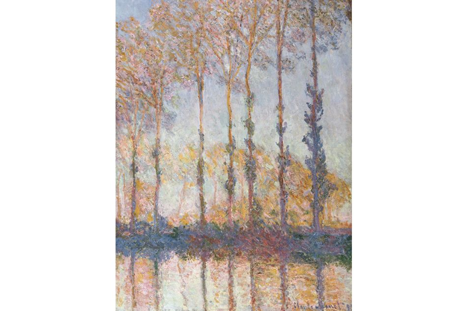 Poplars on the Bank of the Epte River, 1891, is one of a series of paintings that Claude Monet completed over a summer and fall, depicting a stand of trees near his home in Giverny. Image courtesy of the Philadelphia Museum of Art