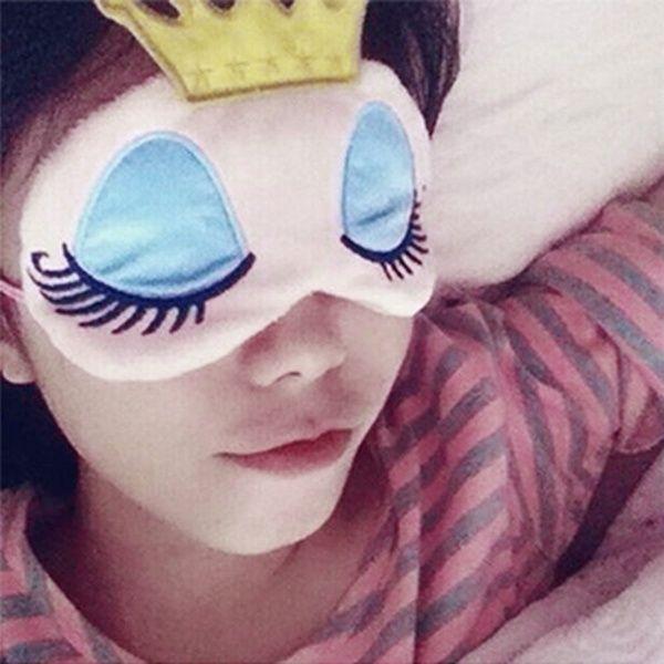 Fashion Travel Women Gift Sleeping Blindfold Eye Mask Crown Long Cilia Princess