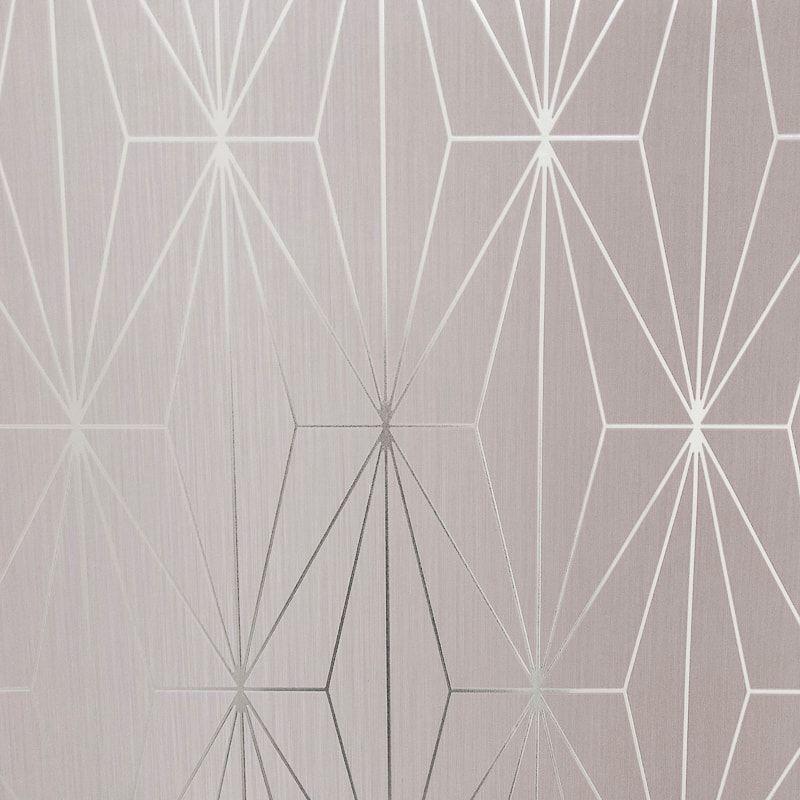 Kayla Blush Silver Wallpaper In 2020 Blush Pink Wallpaper Geometric Wallpaper Silver Geometric Wallpaper
