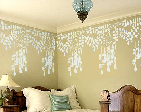 STENCIL for Walls - BORDER Black Locust Flowers - Reusable Wall ...