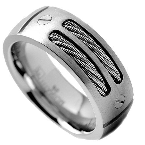 8MM Mens Titanium Ring Wedding Band With Stainless Steel Cables And Screw Design