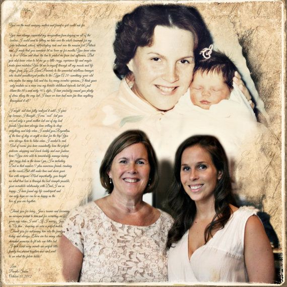 Bridal Gift From Mother: Mother Daughter Parents Gift Photo Art Custom Photo