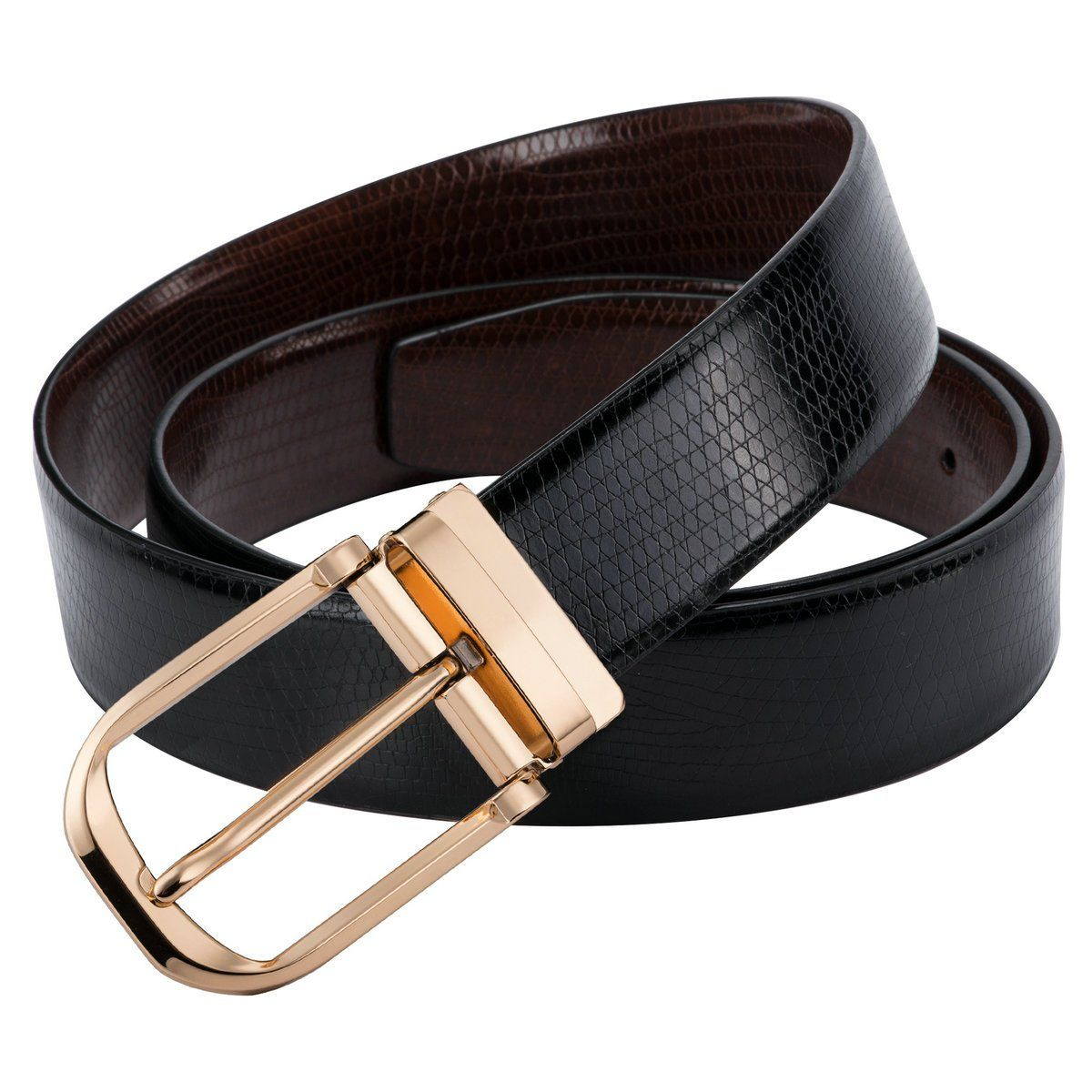 Barry.Wang Leather Casual Belts Black Pin Buckle Belts for Men