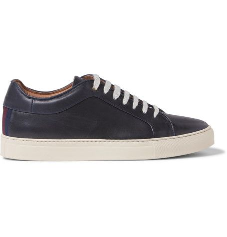 Nastro Grosgrain-Trimmed Leather Sneakers | MR PORTER
