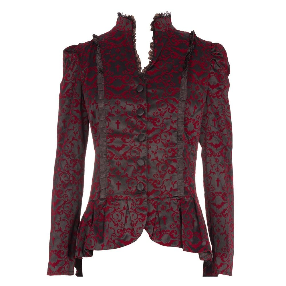 This bewitching black Gothic jacket with red floral brocade print is an essential winter warmer, to wear on your evening out. The lace and ruffle trim give a contrasting texture to the garment and will make you feel like you are living the luxury lifestyle.  Machine wash cold, Do not tumble dry