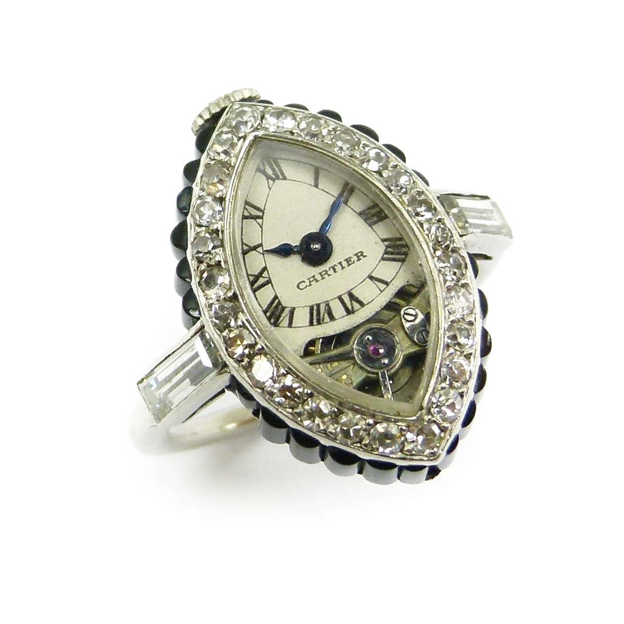 Art deco onyx and diamond montre bague navette keyless