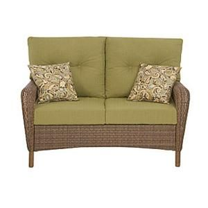Martha Stewart Living Charlottetown Brown All Weather Wicker Patio Furniture.  I Replaced The Love Seat Pillows With A Spice Paisley From Pier One. Part 57