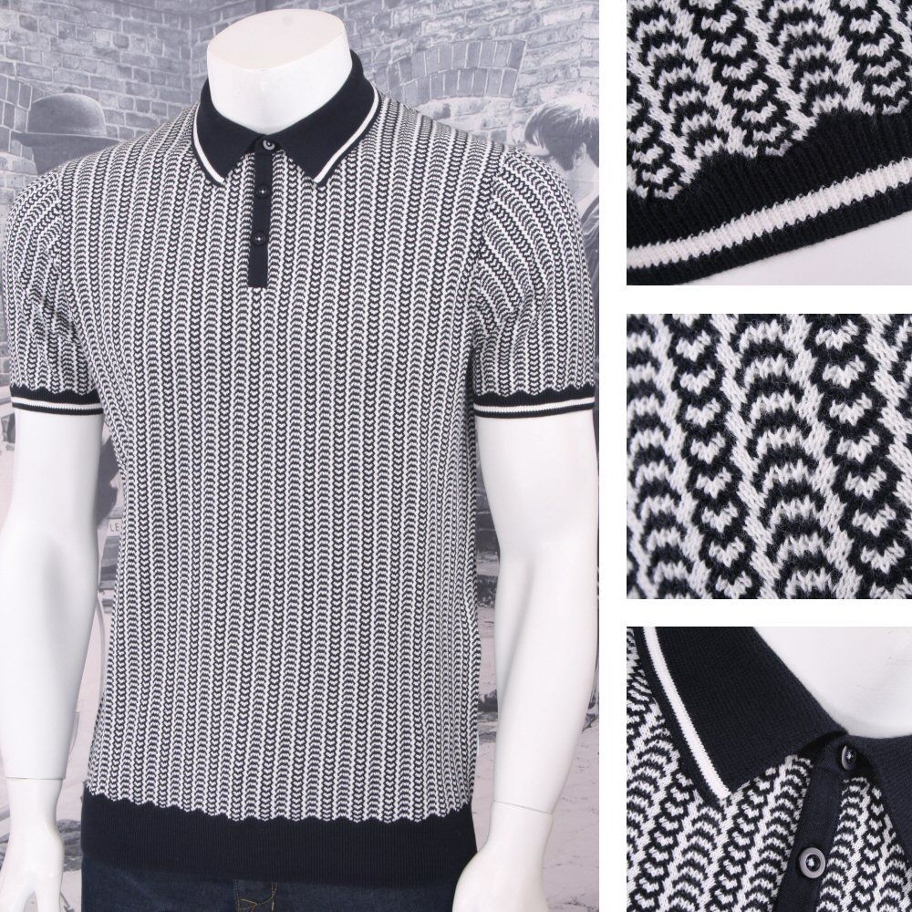 /Peter Werth Mod Retro 60's Fine Gauge Knitted S/S Ribbed Polo Shirt. Men's  PoloGentleman StyleClothing ...