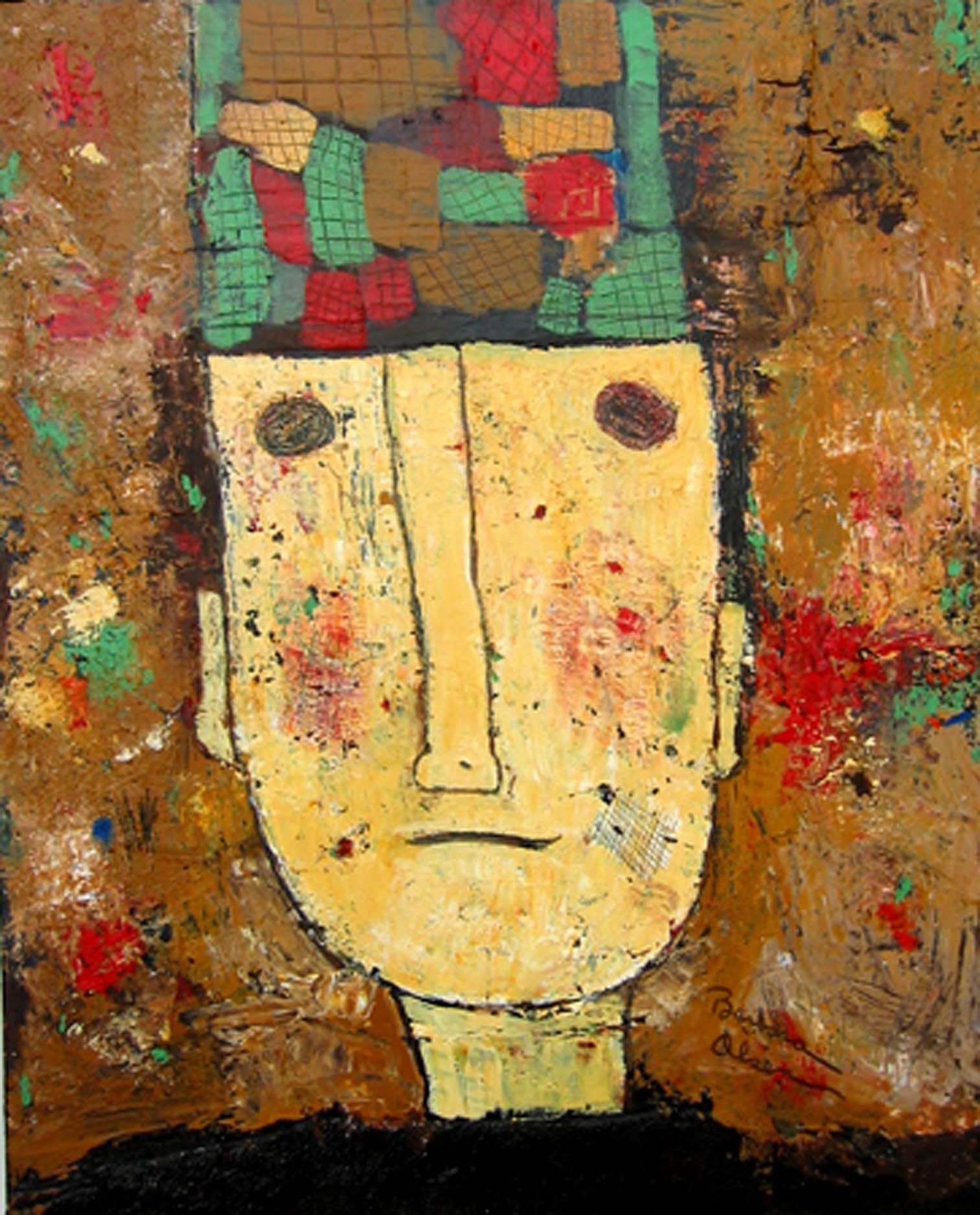 Original mixed media art outsider art portrait Mexican assemblage art