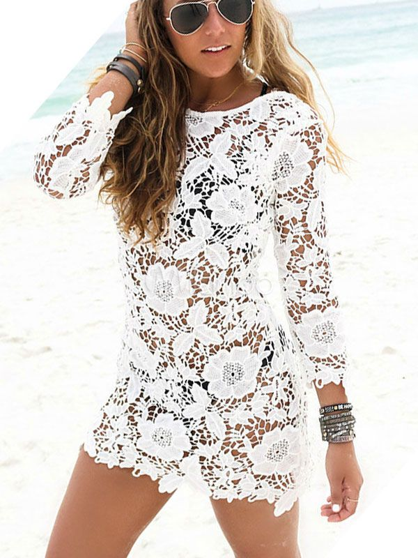 50d64f00a Lace Beach Cover Up White Sheer Long Sleeve Sexy Bathing Suit For Women