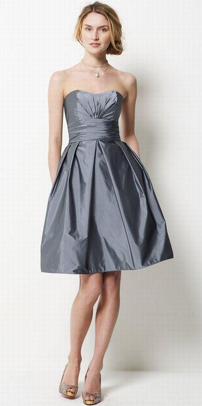 Watters Chic Short Tissue Taffeta Bridesmaid Dress with Pockets ...