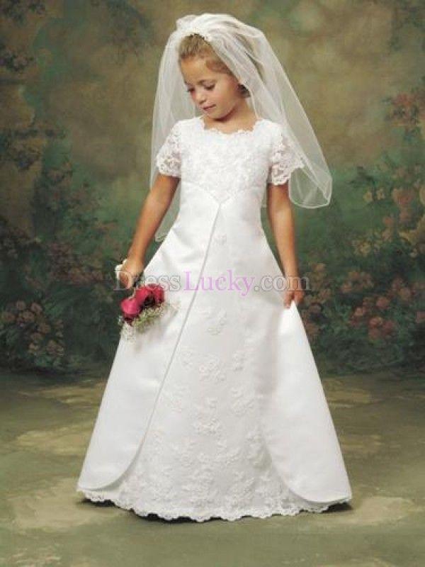 White Jewel Zipper Up Natural Short Sleeve Flower Girl Dresses With Split Front FD2654