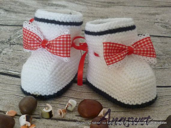 Colorful knitted baby booties/slippers/white shoes with red ribbon ...