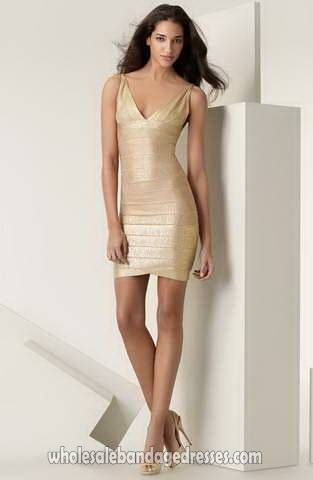 Sexy Herve Leger Foil Bandage Dress Gold Evening Party Dresses V Neck, sale cheap from China, accept retail and wholesale, fast shipping worldwide