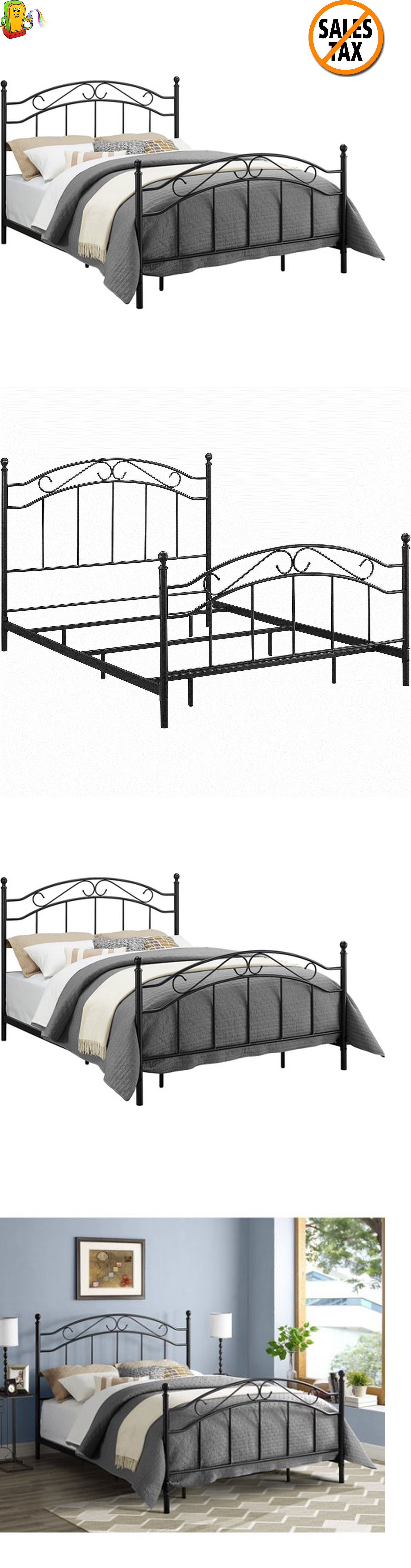 beds and bed frames 175758 queen size metal bed frame headboard footboard contemporary bedroom furniture - Ebay Bed Frames