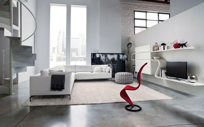 modern einrichten teppich roter sessel weiße wände moderne wohnwand - wohnzimmer ideen modern