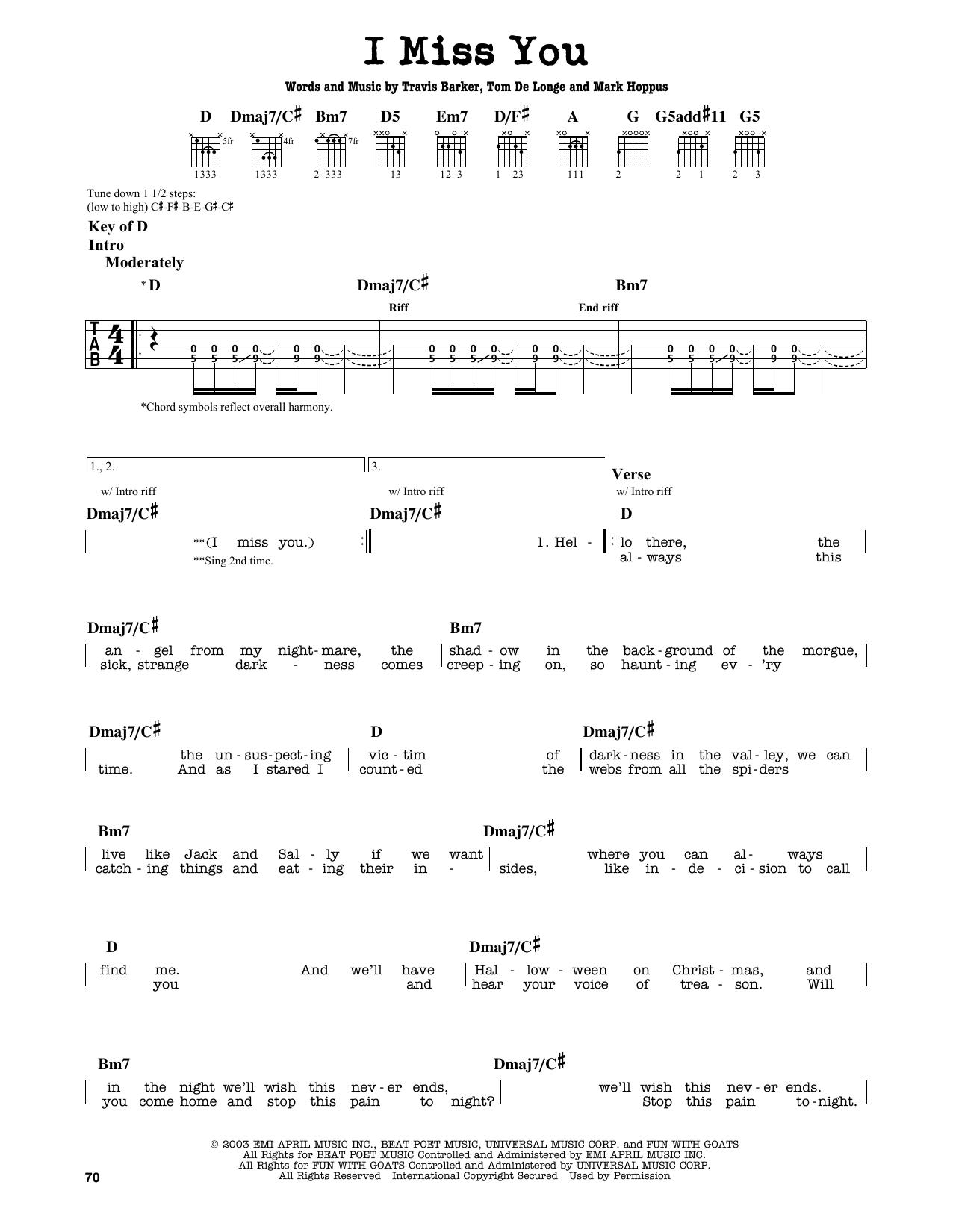 Blink 182 I Miss You Tab Guitar Tabs Pinterest Guitar Tabs
