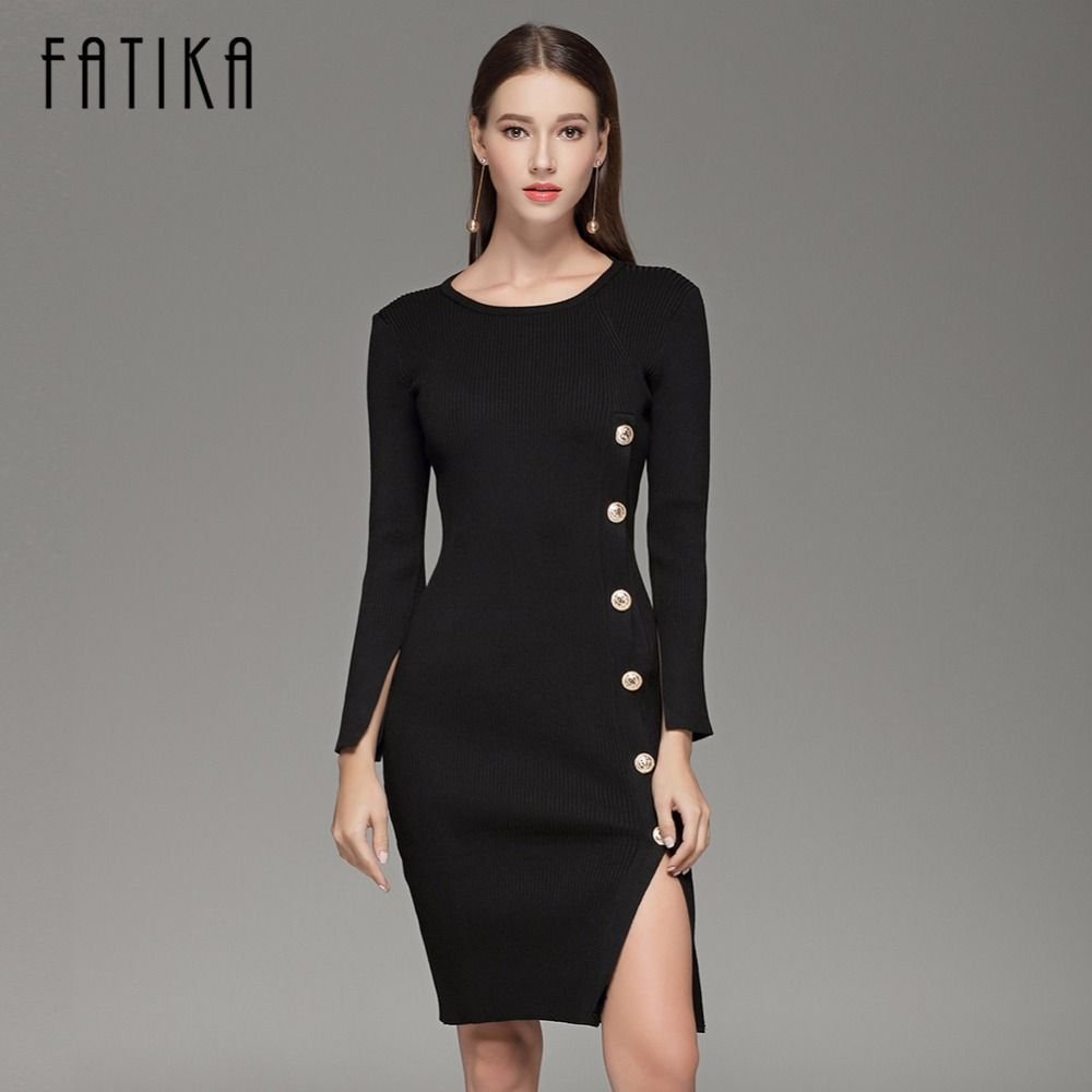 FATIKA Elegant Button up Split Knitted Bodycon Dress Women Black ...