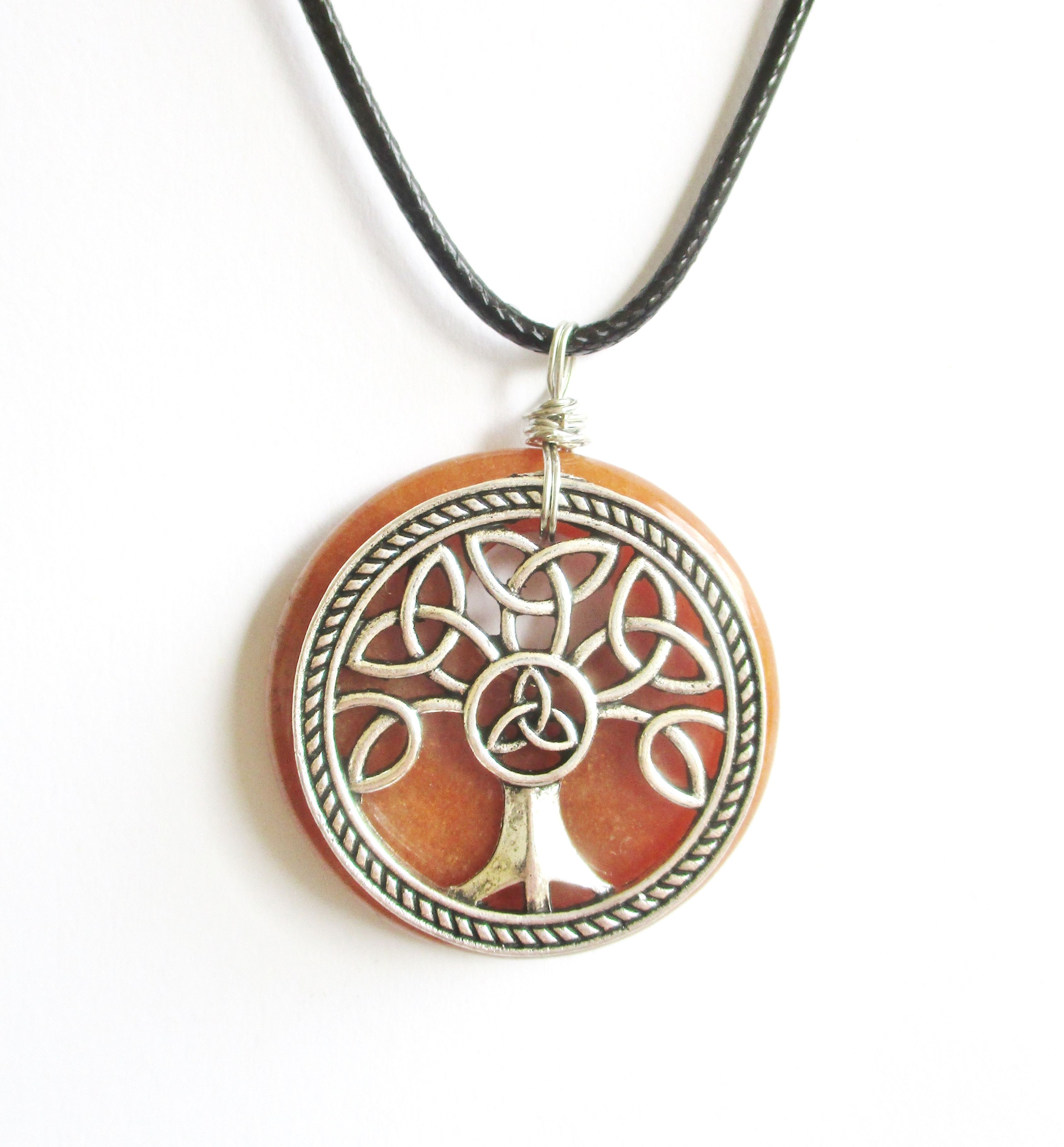 Celtic knot tree of life orange aventurine necklace the te of mala